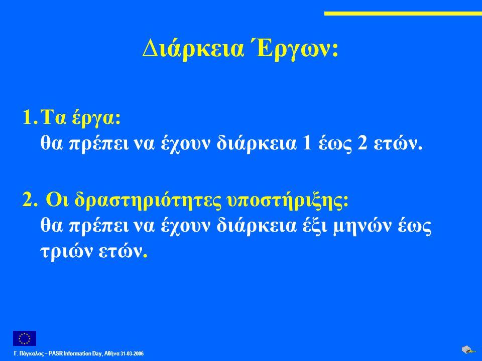 Γ. Πάγκαλος – PASR Ιnformation Day, Αθήνα 31-03-2006 ∆ιάρκεια Έργων: 1.Τα έργα: θα πρέπει να έχουν διάρκεια 1 έως 2 ετών. 2. Οι δραστηριότητες υποστήρ