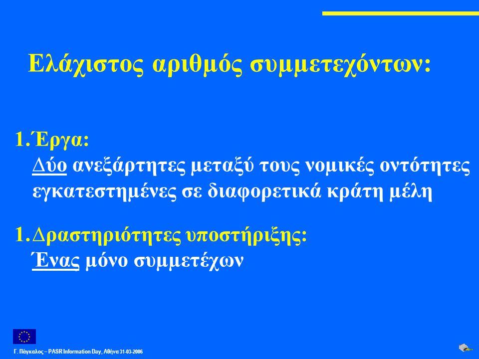 Γ. Πάγκαλος – PASR Ιnformation Day, Αθήνα 31-03-2006 Ελάχιστος αριθµός συµµετεχόντων: 1.Έργα: ∆ύο ανεξάρτητες µεταξύ τους νοµικές οντότητες εγκατεστηµ