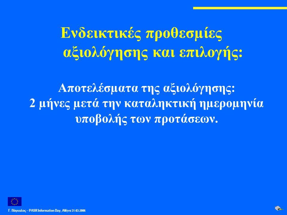 Γ. Πάγκαλος – PASR Ιnformation Day, Αθήνα 31-03-2006 Ενδεικτικές προθεσµίες αξιολόγησης και επιλογής: Αποτελέσµατα της αξιολόγησης: 2 µήνες µετά την κ