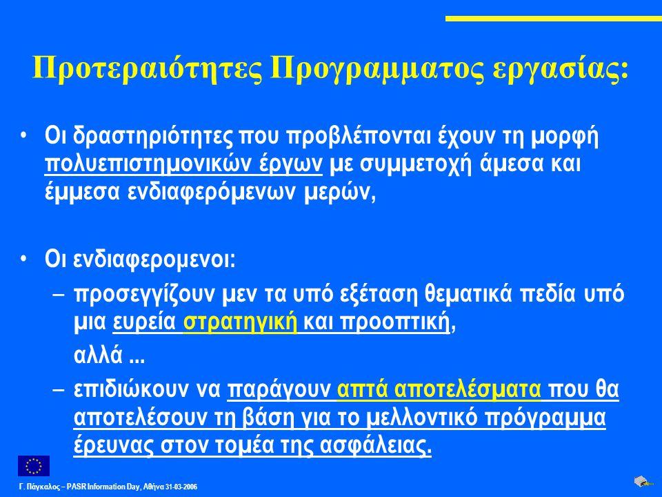 Γ. Πάγκαλος – PASR Ιnformation Day, Αθήνα 31-03-2006 Προτεραιότητες Προγραµµατος εργασίας: Οι δραστηριότητες που προβλέπονται έχουν τη µορφή πολυεπιστ