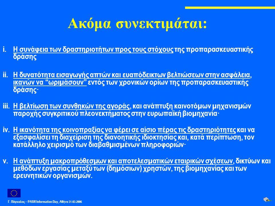 Γ. Πάγκαλος – PASR Ιnformation Day, Αθήνα 31-03-2006 Ακόμα συνεκτιμάται: i.Η συνάφεια των δραστηριοτήτων προς τους στόχους της προπαρασκευαστικής δράσ