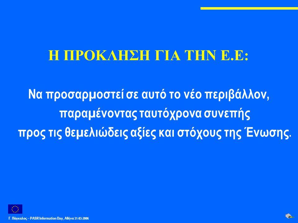 Γ. Πάγκαλος – PASR Ιnformation Day, Αθήνα 31-03-2006 Η ΠΡΟΚΛΗΣΗ ΓΙΑ ΤΗΝ Ε.Ε: Να προσαρµοστεί σε αυτό το νέο περιβάλλον, παραµένοντας ταυτόχρονα συνεπή