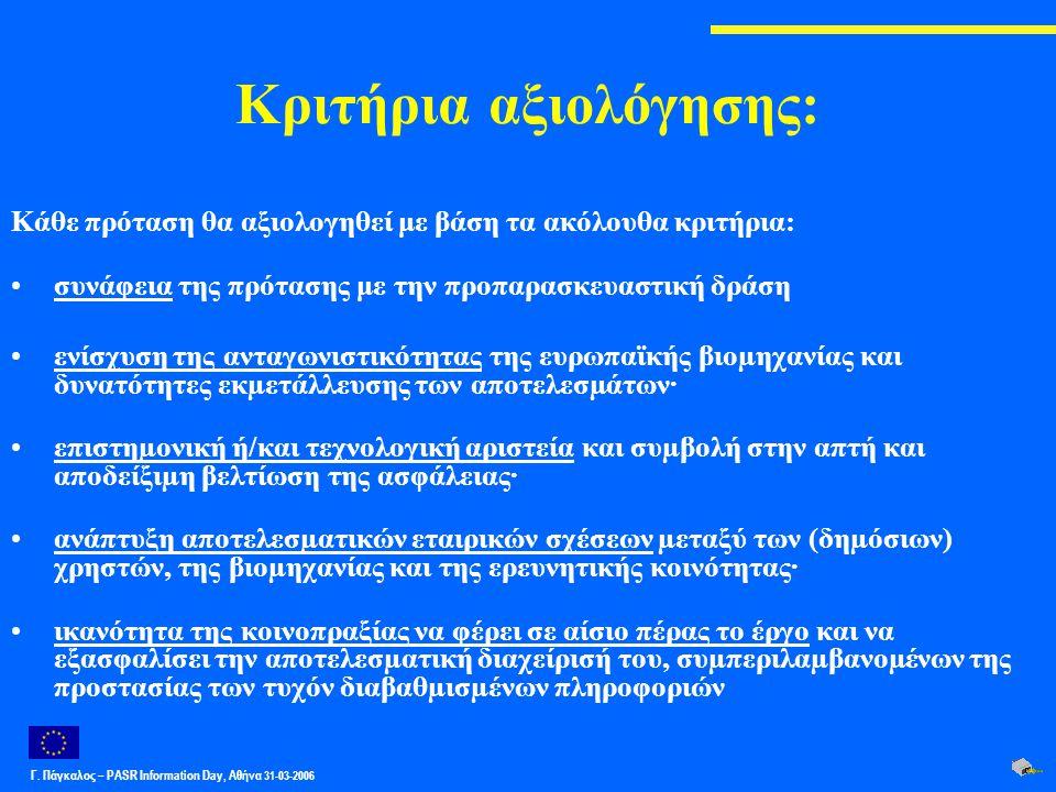 Γ. Πάγκαλος – PASR Ιnformation Day, Αθήνα 31-03-2006 Κριτήρια αξιολόγησης: Κάθε πρόταση θα αξιολογηθεί με βάση τα ακόλουθα κριτήρια: συνάφεια της πρότ