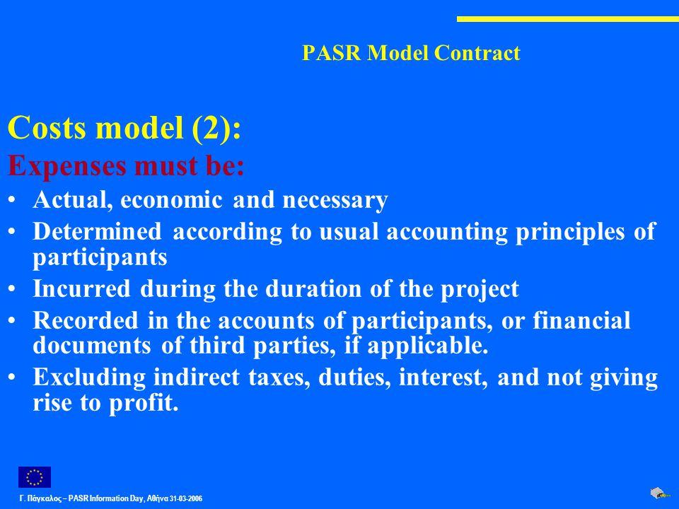 Γ. Πάγκαλος – PASR Ιnformation Day, Αθήνα 31-03-2006 PASR Model Contract Costs model (2): Expenses must be: Actual, economic and necessary Determined