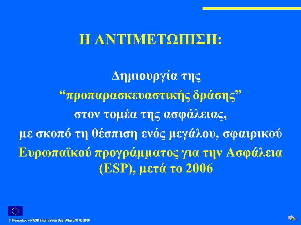"""Γ. Πάγκαλος – PASR Ιnformation Day, Αθήνα 31-03-2006 Η ΑΝΤΙΜΕΤΩΠΙΣΗ: Δημιουργία της """"προπαρασκευαστικής δράσης"""" στον τοµέα της ασφάλειας, µε σκοπό τη"""