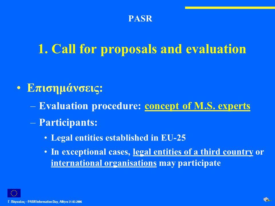 Γ. Πάγκαλος – PASR Ιnformation Day, Αθήνα 31-03-2006 PASR 1. Call for proposals and evaluation Επισημάνσεις: –Evaluation procedure: concept of M.S. ex