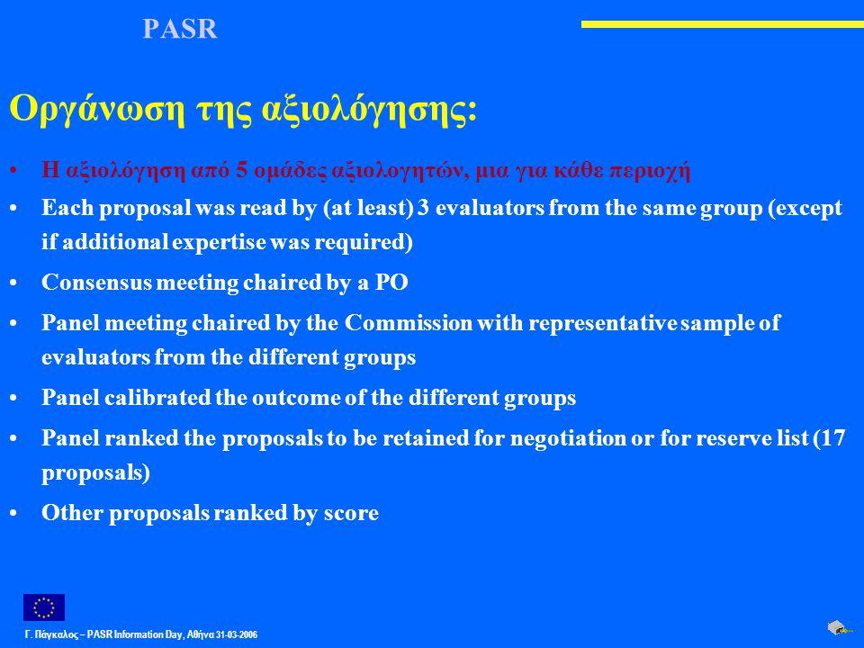 Γ. Πάγκαλος – PASR Ιnformation Day, Αθήνα 31-03-2006 PASR Οργάνωση της αξιολόγησης: Η αξιολόγηση από 5 ομάδες αξιολογητών, μια για κάθε περιοχή Each p