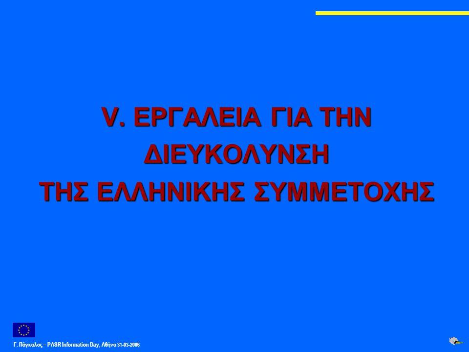 Γ. Πάγκαλος – PASR Ιnformation Day, Αθήνα 31-03-2006 V. ΕΡΓΑΛΕΙΑ ΓΙΑ ΤΗΝ ΔΙΕΥΚΟΛΥΝΣΗ ΤΗΣ ΕΛΛΗΝΙΚΗΣ ΣΥΜΜΕΤΟΧΗΣ