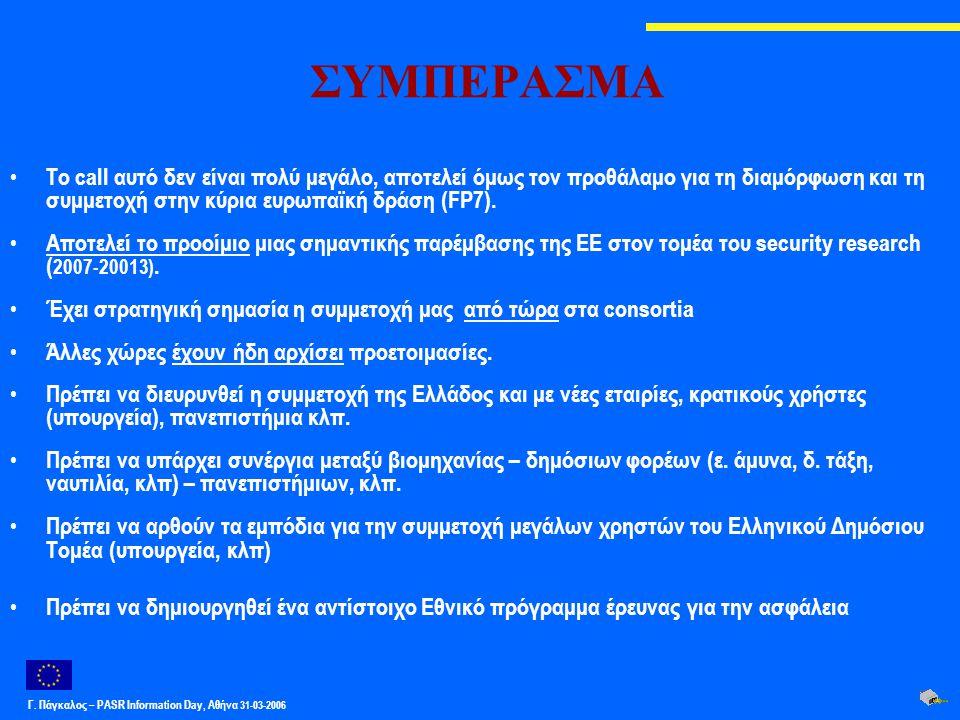 Γ. Πάγκαλος – PASR Ιnformation Day, Αθήνα 31-03-2006 ΣΥΜΠΕΡΑΣΜΑ Το call αυτό δεν είναι πολύ μεγάλο, αποτελεί όμως τον προθάλαμο για τη διαμόρφωση και