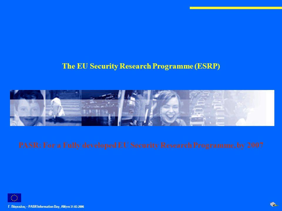 Γ. Πάγκαλος – PASR Ιnformation Day, Αθήνα 31-03-2006 The EU Security Research Programme (ESRP) PASR: For a Fully developed EU Security Research Progra