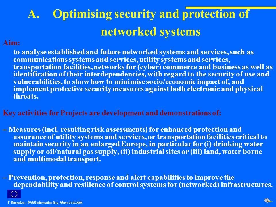 Γ. Πάγκαλος – PASR Ιnformation Day, Αθήνα 31-03-2006 A.Optimising security and protection of networked systems Aim: to analyse established and future