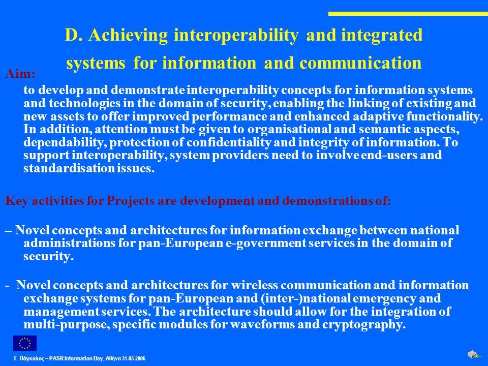 Γ. Πάγκαλος – PASR Ιnformation Day, Αθήνα 31-03-2006 D. Achieving interoperability and integrated systems for information and communication Aim: to de