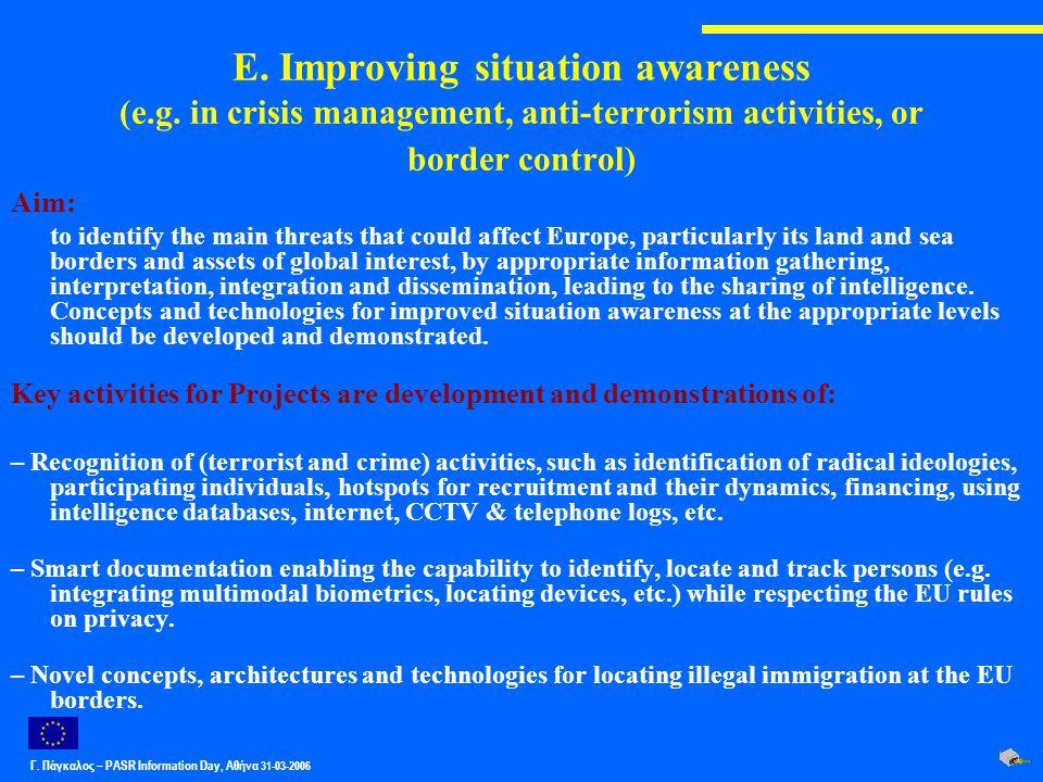 Γ. Πάγκαλος – PASR Ιnformation Day, Αθήνα 31-03-2006 E. Improving situation awareness (e.g. in crisis management, anti-terrorism activities, or border