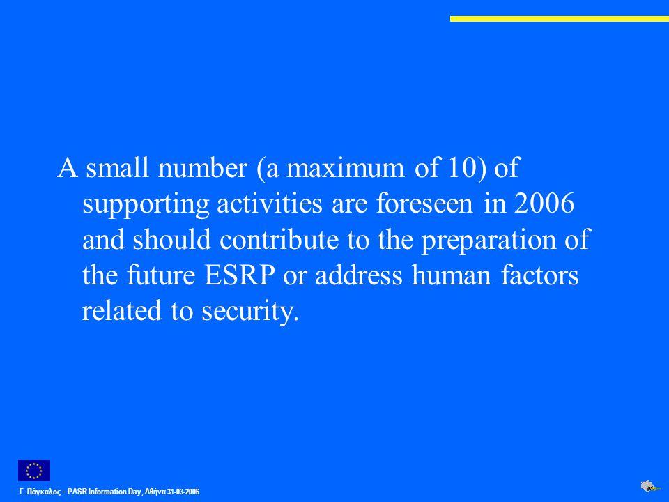 Γ. Πάγκαλος – PASR Ιnformation Day, Αθήνα 31-03-2006 A small number (a maximum of 10) of supporting activities are foreseen in 2006 and should contrib