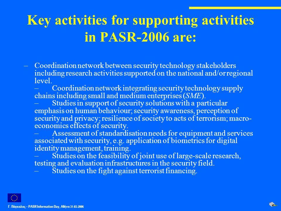 Γ. Πάγκαλος – PASR Ιnformation Day, Αθήνα 31-03-2006 Key activities for supporting activities in PASR-2006 are: –Coordination network between security