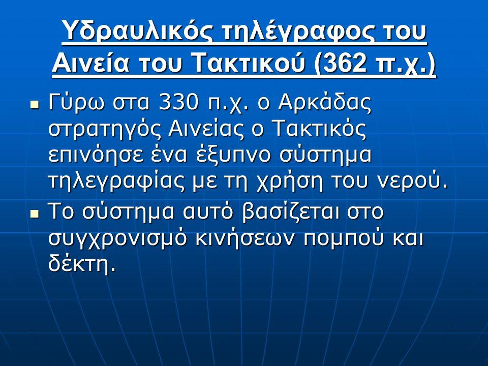 Υδραυλικός τηλέγραφος του Αινεία του Τακτικού (362 π.χ.) Γύρω στα 330 π.χ. ο Αρκάδας στρατηγός Αινείας ο Τακτικός επινόησε ένα έξυπνο σύστημα τηλεγραφ