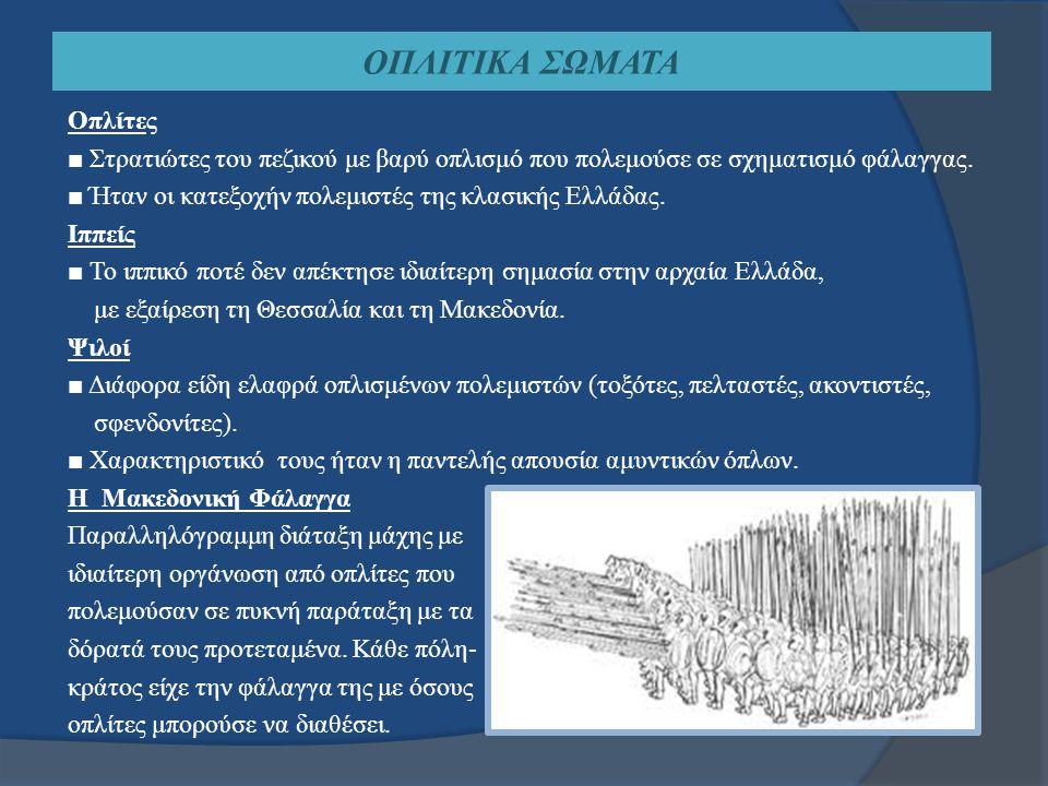ΤΑ ΟΠΛΑ ΤΩΝ ΑΡΧΑΙΩΝ ΕΛΛΗΝΩΝ Επιθετικά Όπλα Τα αγχέμαχα επιθετικά όπλα των Αρχαίων Ελλήνων στρατιωτών:  Δόρυ  Ξίφος  Σάρισα  Εγχειρίδιο Τα εκηβόλα επιθετικά όπλα των Αρχαίων Ελλήνων στρατιωτών:  Σφενδόνη  Τόξο  Ακόντιο Αμυντικά Όπλα  Ασπίδα  Θώρακας  Κράνος  Κνημίδες Πολεμικές Μηχανές  Καταπέλτες  Πολιορκητικοί κριοί  «Χελώνες»  Γερανοί Λεπτομέρεια από μελανόμορφο αμφορέα του τέλους του 6ου αι.
