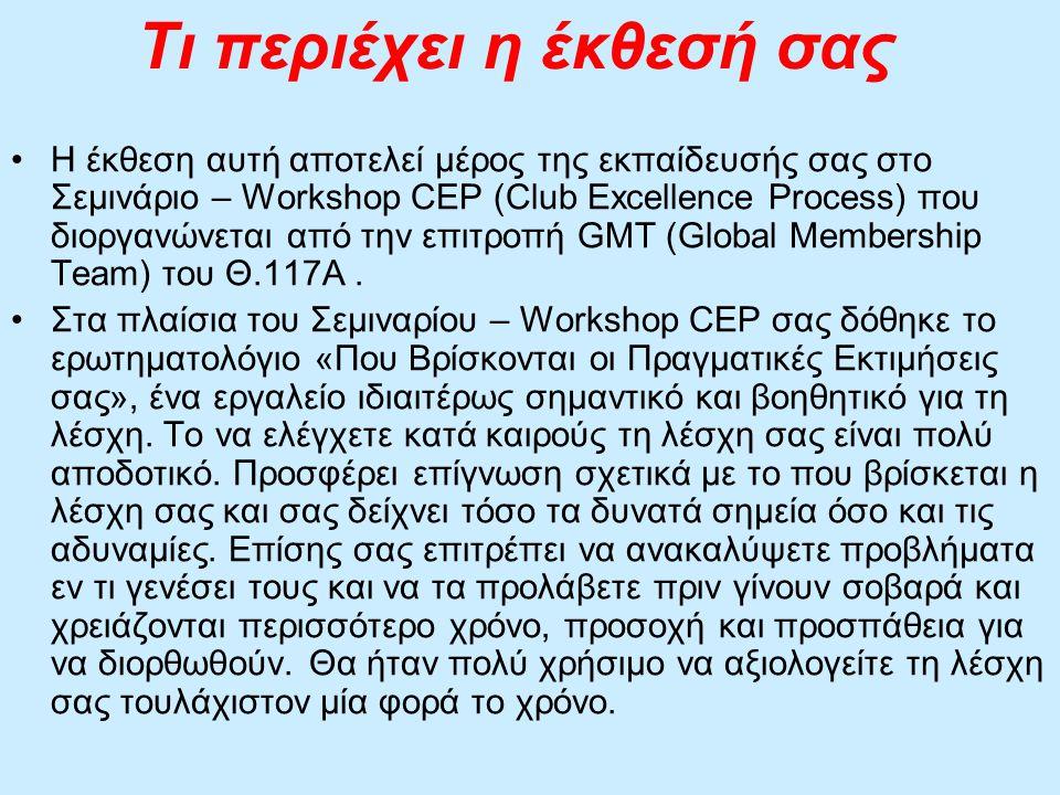 Τι περιέχει η έκθεσή σας Η έκθεση αυτή αποτελεί μέρος της εκπαίδευσής σας στο Σεμινάριο – Workshop CEP (Club Excellence Process) που διοργανώνεται από την επιτροπή GMT (Global Membership Team) του Θ.117Α.