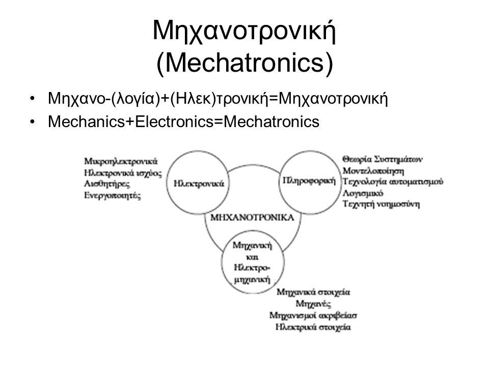 Μηχανοτρονική (Mechatronics) Μηχανο-(λογία)+(Ηλεκ)τρονική=Μηχανοτρονική Mechanics+Electronics=Mechatronics