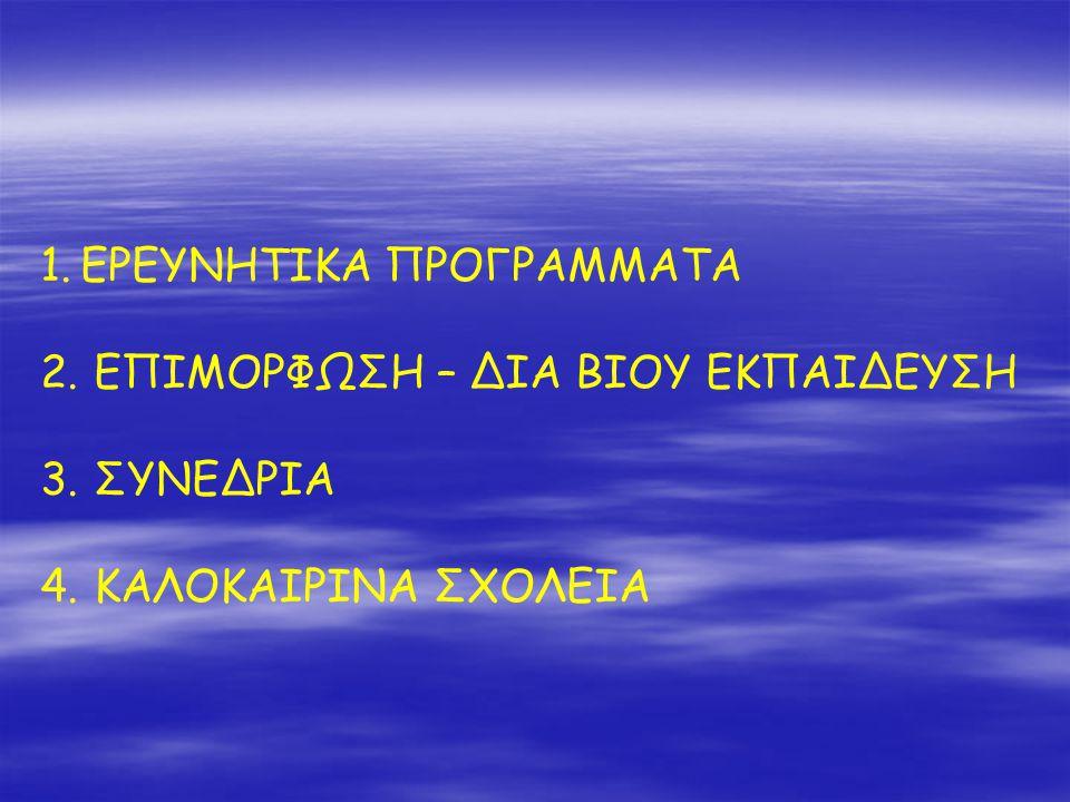 1.ΕΡΕΥΝΗΤΙΚΑ ΠΡΟΓΡΑΜΜΑΤΑ 2. ΕΠΙΜΟΡΦΩΣΗ – ΔΙΑ ΒΙΟΥ ΕΚΠΑΙΔΕΥΣΗ 3. ΣΥΝΕΔΡΙΑ 4. ΚΑΛΟΚΑΙΡΙΝΑ ΣΧΟΛΕΙΑ