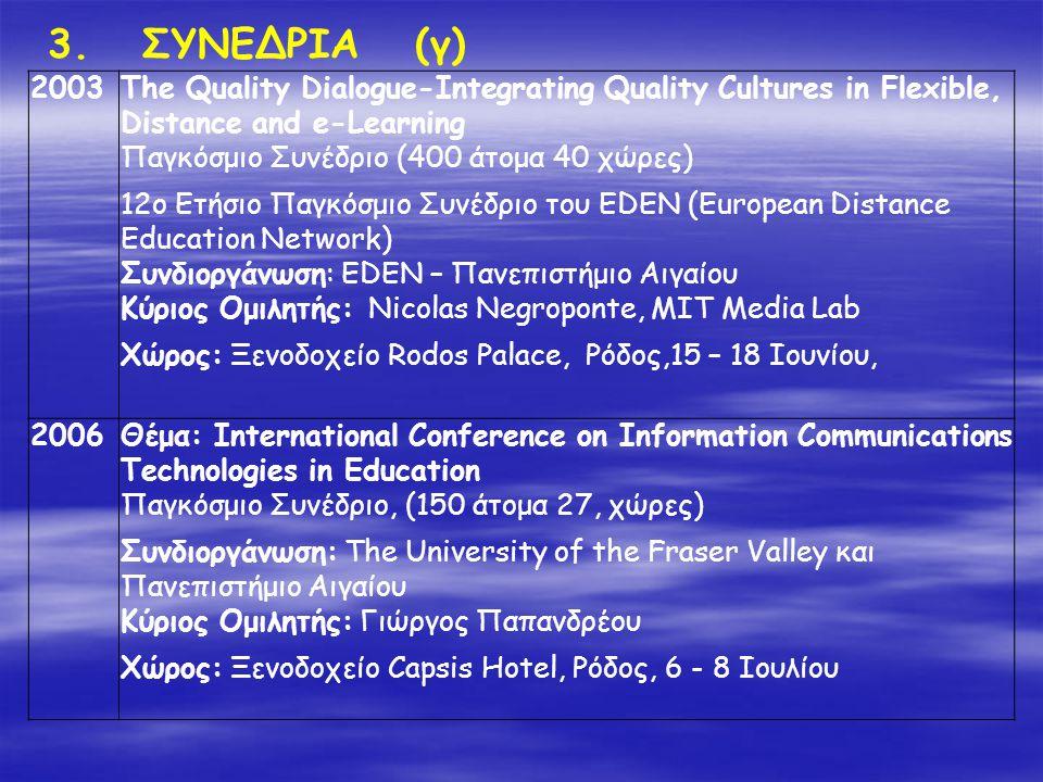 3. ΣΥΝΕΔΡΙΑ (γ) 2003The Quality Dialogue-Integrating Quality Cultures in Flexible, Distance and e-Learning Παγκόσμιο Συνέδριο (400 άτομα 40 χώρες) 12o