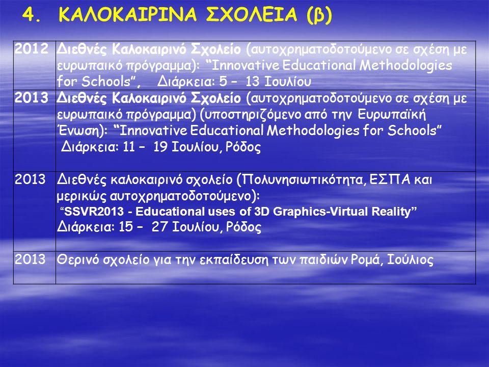 """4. ΚΑΛΟΚΑΙΡΙΝΑ ΣΧΟΛΕΙΑ (β) 2012Διεθνές Καλοκαιρινό Σχολείο (αυτοχρηματοδοτούμενο σε σχέση με ευρωπαικό πρόγραμμα): """"Innovative Educational Methodologi"""
