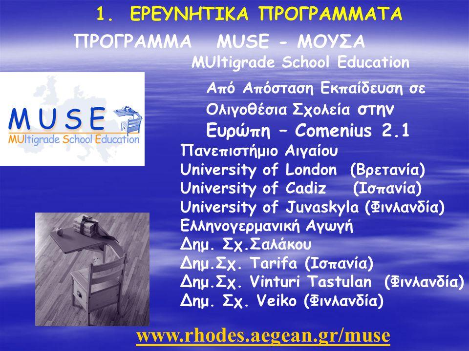 Aegean Net: Δίκτυο Πανεπιστημίου Αιγαίου Socrates Leonardo: Απασχόληση, Αναπηρία και Ευρώπη Aegean Dolphin: Από Απόσταση εκπαίδευση με εφαρμογή στον Τουρισμό Δικτυωθείτε: Πληροφορική στις μικρομεσαίες επιχειρήσεις 1.ΕΡΕΥΝΗΤΙΚΑ ΠΡΟΓΡΑΜΜΑΤΑ Προγράμματα του Παν.