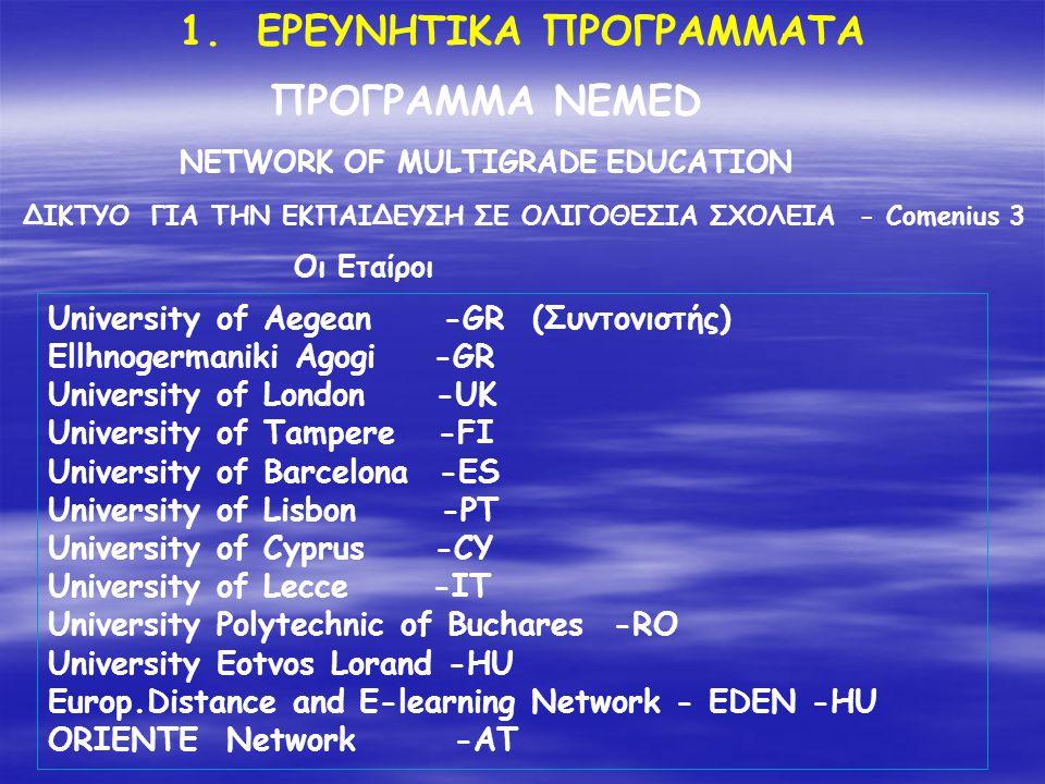 ΚΕΠΙΣ Επιμόρφωση εκπαιδευτικών στην αξιοποίηση των τεχνολογιων Πληροφορίας και επικοινωνιών στην εκπαίδευση 1/1/10-30/12/12 2010 ΚΕΠΙΣ Πιστοποίηση και εφαρμογή διαδικασιων πιστοποίησης εκπαιδευτικών στη χρήση τεχνολογιών πληροφορίας και επικοινωνιών 2010 Ηλεκτρονική, δια βιου μάθηση: e-Γονείς , ΕΣΠΑ Πολυνησιωτικότητα 2012 Ηλεκτρονική δια βίου Μάθηση: Σχεδιασμός και Αναπτυξη δια βίου Μαθημάτων, ΕΣΠΑ Πολυνησιωτικότητα 2012 Ηλεκτρονική δια βίου Μάθηση: e- Διδασκαλείο Γλωσσών , ΕΣΠΑ Πολυνησιωτικότητα 2012 Ηλεκτρονική δια βίου Μάθηση: Εκπαίδευση για την αειφόρο ανάπτυξη , ΕΣΠΑ Πολυνησιωτικότητα 2012 2.
