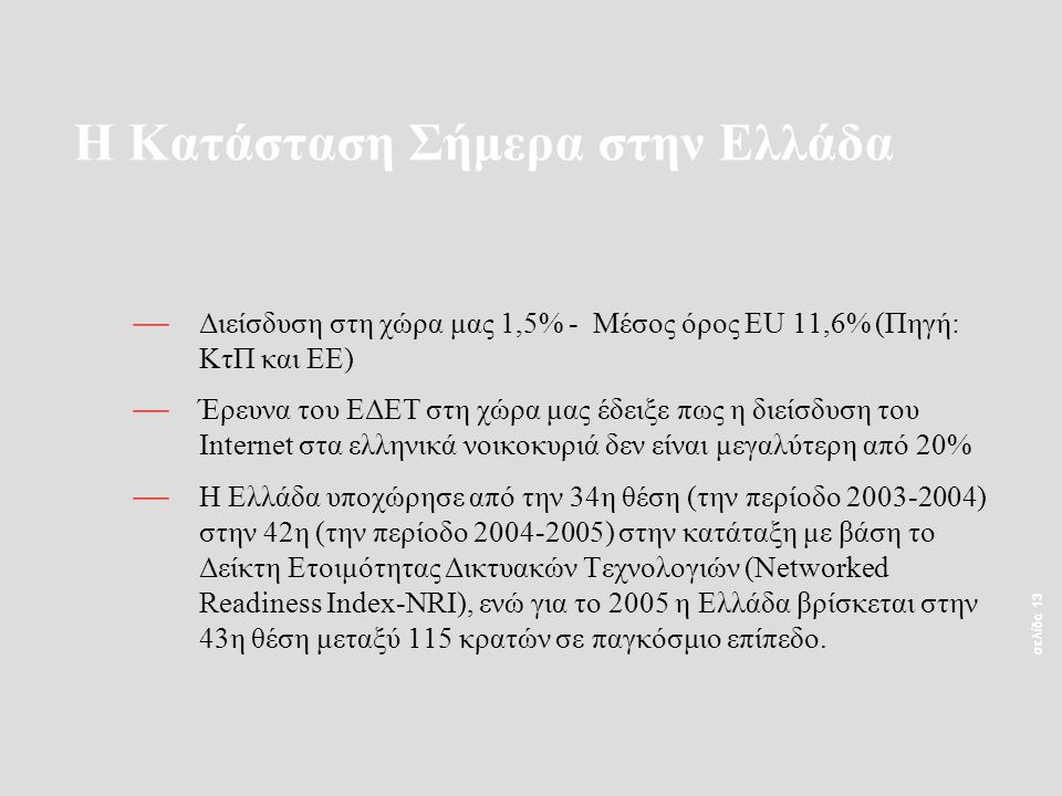 σελίδα 13 — Διείσδυση στη χώρα μας 1,5% - Μέσος όρος EU 11,6% (Πηγή: ΚτΠ και ΕΕ) — Έρευνα του ΕΔΕΤ στη χώρα μας έδειξε πως η διείσδυση του Internet στ