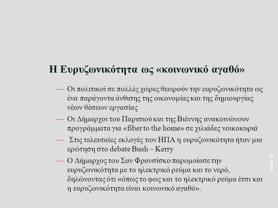σελίδα 15 Η Ευρυζωνικότητα ως «κοινωνικό αγαθό» —Οι πολιτικοί σε πολλές χώρες θεωρούν την ευρυζωνικότητα ως ένα παράγοντα άνθισης της οικονομίας και της δημιουργίας νέων θέσεων εργασίας —Οι Δήμαρχοι του Παρισιού και της Βιέννης ανακοινώνουν προγράμματα για «fiber to the home» σε χιλιάδες νοικοκυριά — Στις τελευταίες εκλογές των ΗΠΑ η ευρυζωνικότητα ήταν μια ερώτηση στο debate Bush – Kerry —Ο Δήμαρχος του Σαν Φρανσίσκο παρομοίασε την ευρυζωνικότητα με το ηλεκτρικό ρεύμα και το νερό, δηλώνοντας ότι «όπως το φως και το ηλεκτρικό ρεύμα έτσι και η ευρυζωνικότητα είναι κοινωνικό αγαθό».