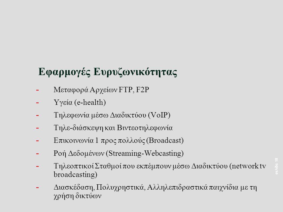 σελίδα 18 Εφαρμογές Ευρυζωνικότητας - Μεταφορά Αρχείων FTP, F2P - Υγεία (e-health) - Τηλεφωνία μέσω Διαδικτύου (VoIP) - Τηλε-διάσκεψη και Βιντεοτηλεφω