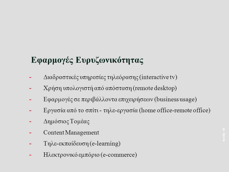 σελίδα 19 Εφαρμογές Ευρυζωνικότητας - Διαδραστικές υπηρεσίες τηλεόρασης (interactive tv) - Χρήση υπολογιστή από απόσταση (remote desktop) - Εφαρμογές σε περιβάλλοντα επιχειρήσεων (business usage) - Εργασία από το σπίτι - τηλε-εργασία (home office-remote office) - Δημόσιος Τομέας - Content Management - Τηλε-εκπαίδευση (e-learning) - Ηλεκτρονικό εμπόριο (e-commerce)
