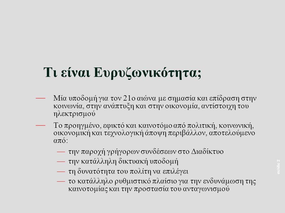 σελίδα 13 — Διείσδυση στη χώρα μας 1,5% - Μέσος όρος EU 11,6% (Πηγή: ΚτΠ και ΕΕ) — Έρευνα του ΕΔΕΤ στη χώρα μας έδειξε πως η διείσδυση του Internet στα ελληνικά νοικοκυριά δεν είναι μεγαλύτερη από 20% — Η Ελλάδα υποχώρησε από την 34η θέση (την περίοδο 2003-2004) στην 42η (την περίοδο 2004-2005) στην κατάταξη με βάση το Δείκτη Ετοιμότητας Δικτυακών Τεχνολογιών (Networked Readiness Index-NRI), ενώ για το 2005 η Ελλάδα βρίσκεται στην 43η θέση μεταξύ 115 κρατών σε παγκόσμιο επίπεδο.