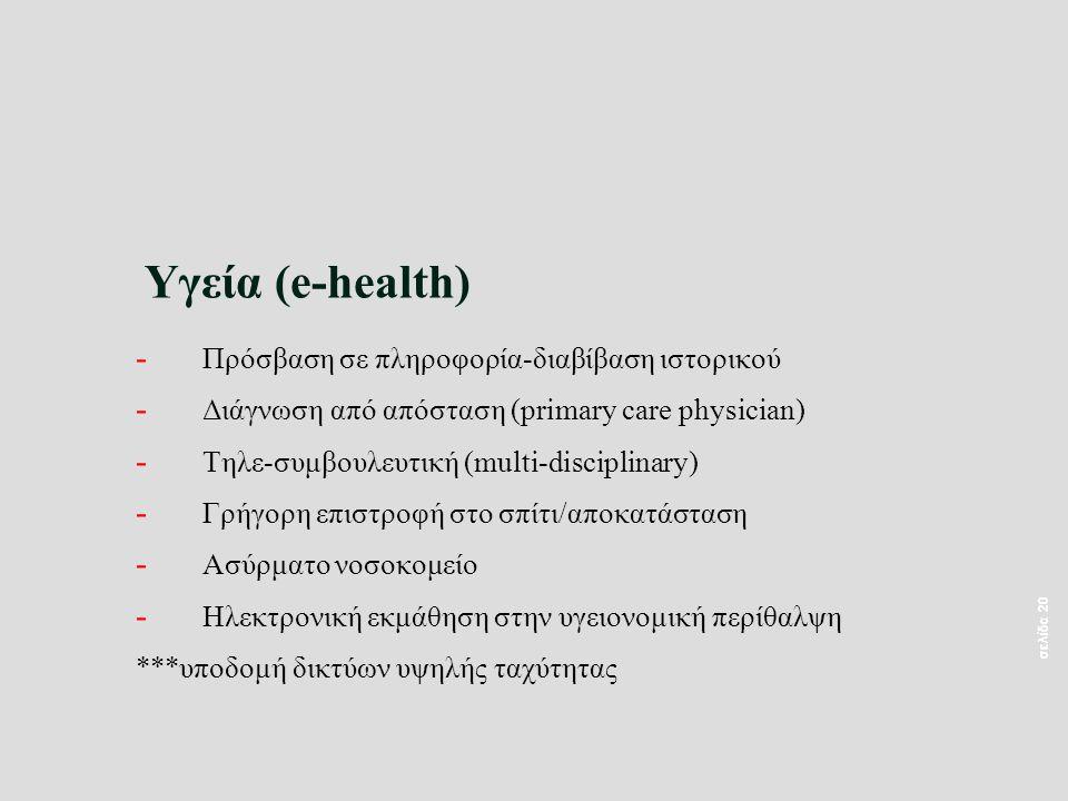 σελίδα 20 Υγεία (e-health) - Πρόσβαση σε πληροφορία-διαβίβαση ιστορικού - Διάγνωση από απόσταση (primary care physician) - Τηλε-συμβουλευτική (multi-disciplinary) - Γρήγορη επιστροφή στο σπίτι/αποκατάσταση - Ασύρματο νοσοκομείο - Ηλεκτρονική εκμάθηση στην υγειονομική περίθαλψη ***υποδομή δικτύων υψηλής ταχύτητας