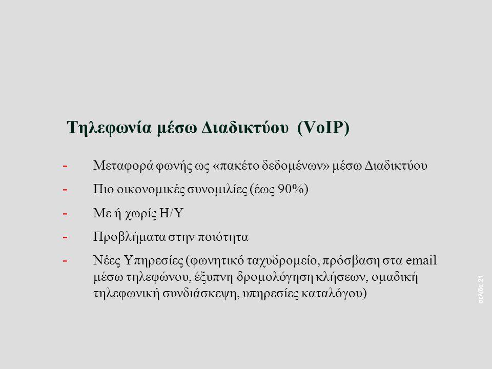 σελίδα 21 Τηλεφωνία μέσω Διαδικτύου (VoIP) - Μεταφορά φωνής ως «πακέτο δεδομένων» μέσω Διαδικτύου - Πιο οικονομικές συνομιλίες (έως 90%) - Με ή χωρίς Η/Υ - Προβλήματα στην ποιότητα - Νέες Υπηρεσίες (φωνητικό ταχυδρομείο, πρόσβαση στα email μέσω τηλεφώνου, έξυπνη δρομολόγηση κλήσεων, ομαδική τηλεφωνική συνδιάσκεψη, υπηρεσίες καταλόγου)