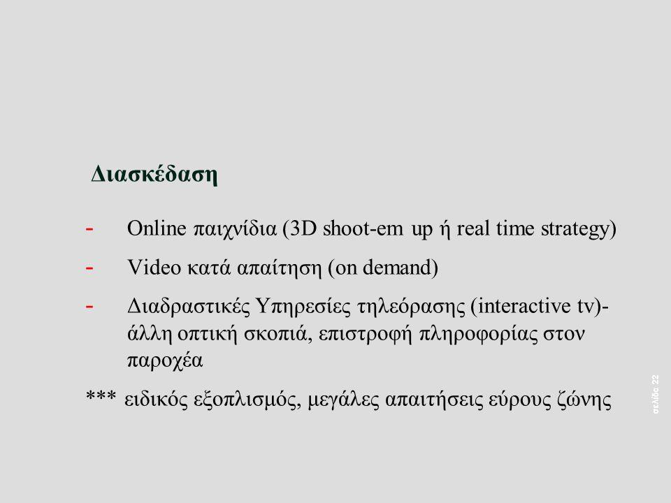 σελίδα 22 Διασκέδαση - Online παιχνίδια (3D shoot-em up ή real time strategy) - Video κατά απαίτηση (on demand) - Διαδραστικές Υπηρεσίες τηλεόρασης (interactive tv)- άλλη οπτική σκοπιά, επιστροφή πληροφορίας στον παροχέα *** ειδικός εξοπλισμός, μεγάλες απαιτήσεις εύρους ζώνης