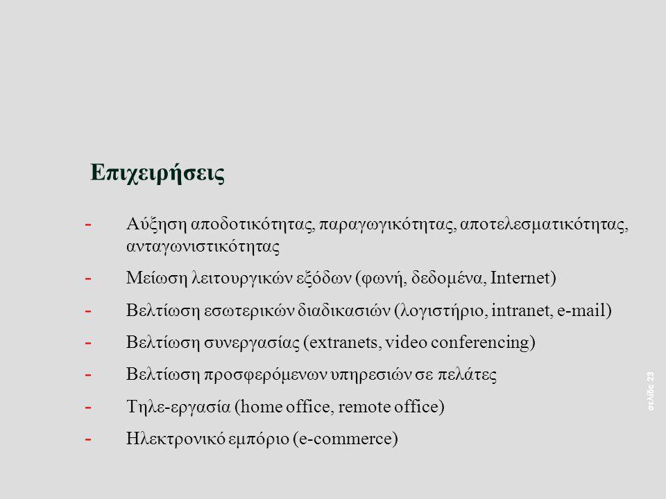 σελίδα 23 Επιχειρήσεις - Αύξηση αποδοτικότητας, παραγωγικότητας, αποτελεσματικότητας, ανταγωνιστικότητας - Μείωση λειτουργικών εξόδων (φωνή, δεδομένα, Internet) - Βελτίωση εσωτερικών διαδικασιών (λογιστήριο, intranet, e-mail) - Βελτίωση συνεργασίας (extranets, video conferencing) - Βελτίωση προσφερόμενων υπηρεσιών σε πελάτες - Τηλε-εργασία (home office, remote office) - Ηλεκτρονικό εμπόριο (e-commerce)