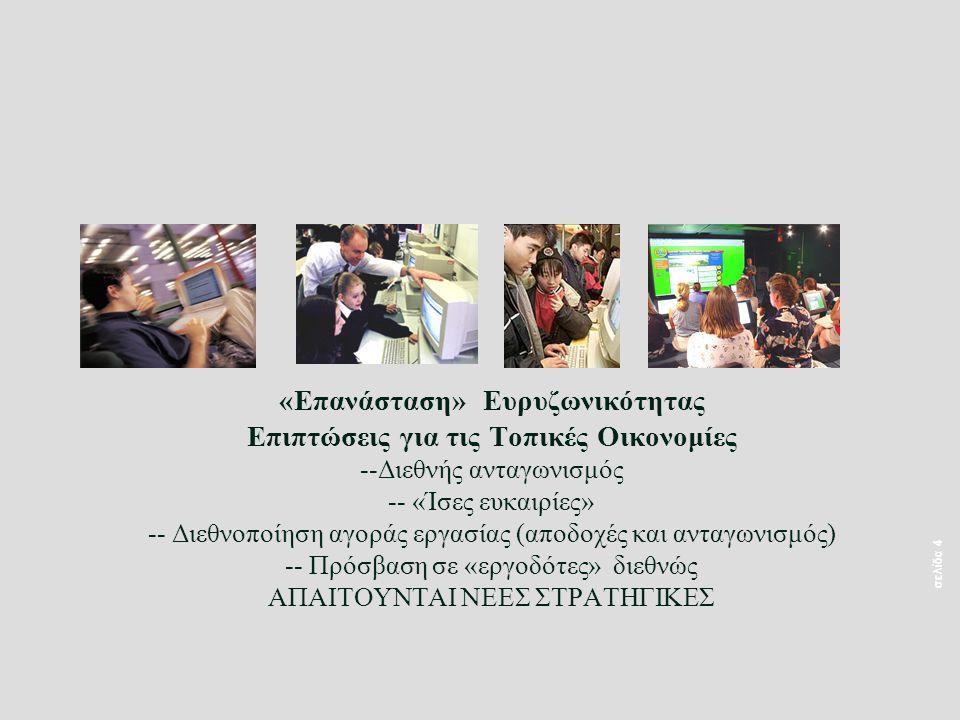 σελίδα 4 «Επανάσταση» Ευρυζωνικότητας Επιπτώσεις για τις Τοπικές Οικονομίες --Διεθνής ανταγωνισμός -- «Ίσες ευκαιρίες» -- Διεθνοποίηση αγοράς εργασίας (αποδοχές και ανταγωνισμός) -- Πρόσβαση σε «εργοδότες» διεθνώς ΑΠΑΙΤΟΥΝΤΑΙ ΝΕΕΣ ΣΤΡΑΤΗΓΙΚΕΣ