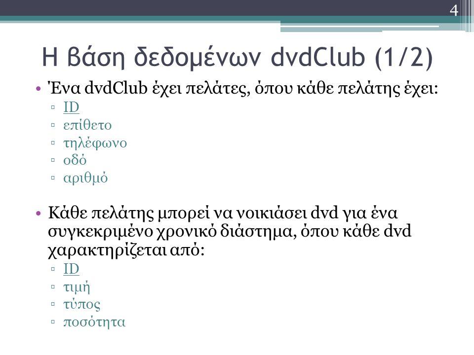 Δημιουργία πινάκων με την SQL (1/2) Δημιουργία του πίνακα ΠΕΛΑΤΗΣ με την εντολή create table: create table ΠΕΛΑΤΗΣ ( ID int, Επίθετο char(30), Τηλέφωνο char(10), Οδός char(30), Αριθμός char(30), primary key (ID) ) 15