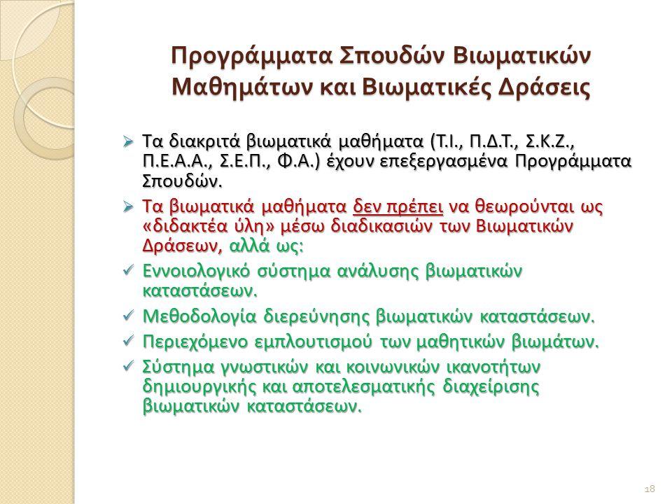 Προγράμματα Σπουδών Βιωματικών Μαθημάτων και Βιωματικές Δράσεις  Τα διακριτά βιωματικά μαθήματα (Τ.Ι., Π.Δ.Τ., Σ.Κ.Ζ., Π.Ε.Α.Α., Σ.Ε.Π., Φ.Α.) έχουν