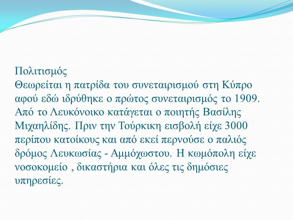Πολιτισμός Θεωρείται η πατρίδα του συνεταιρισμού στη Κύπρο αφού εδώ ιδρύθηκε ο πρώτος συνεταιρισμός το 1909. Από το Λευκόνοικο κατάγεται ο ποιητής Βασ
