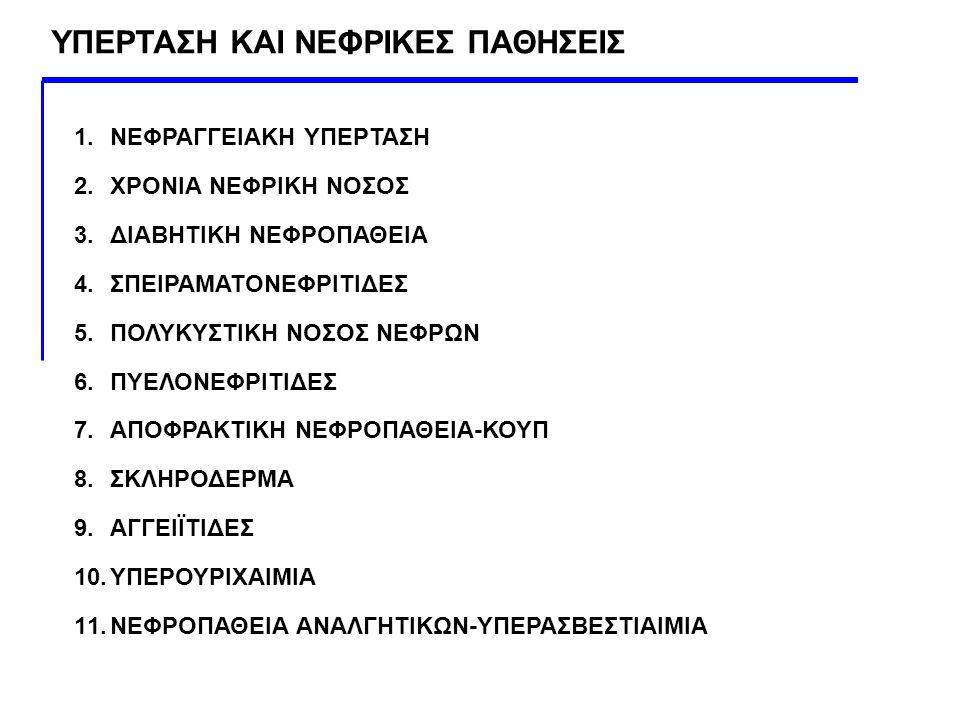 1.ΝΕΦΡΑΓΓΕΙΑΚΗ ΥΠΕΡΤΑΣΗ 2.ΧΡΟΝΙΑ ΝΕΦΡΙΚΗ ΝΟΣΟΣ 3.ΔΙΑΒΗΤΙΚΗ ΝΕΦΡΟΠΑΘΕΙΑ 4.ΣΠΕΙΡΑΜΑΤΟΝΕΦΡΙΤΙΔΕΣ 5.ΠΟΛΥΚΥΣΤΙΚΗ ΝΟΣΟΣ ΝΕΦΡΩΝ 6.ΠΥΕΛΟΝΕΦΡΙΤΙΔΕΣ 7.ΑΠΟΦΡΑΚΤΙ