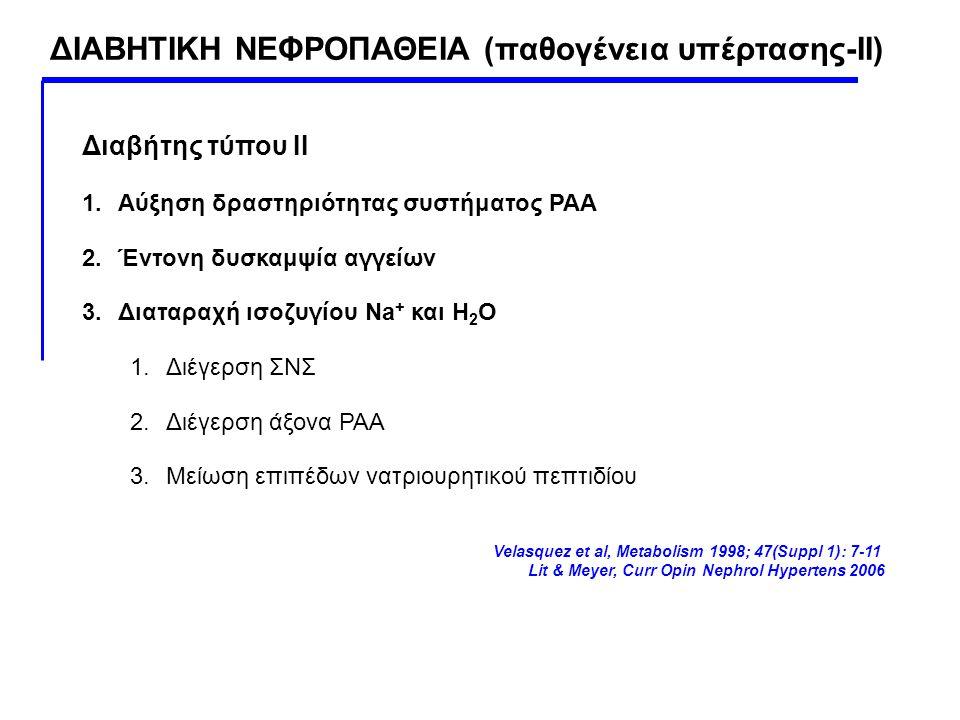 ΔΙΑΒΗΤΙΚΗ ΝΕΦΡΟΠΑΘΕΙΑ (παθογένεια υπέρτασης-ΙΙ) Διαβήτης τύπου ΙΙ 1.Αύξηση δραστηριότητας συστήματος ΡΑΑ 2.Έντονη δυσκαμψία αγγείων 3.Διαταραχή ισοζυγ