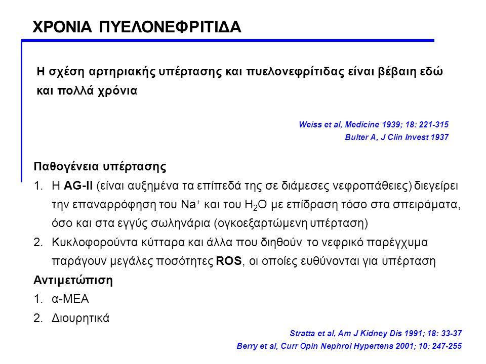 ΧΡΟΝΙΑ ΠΥΕΛΟΝΕΦΡΙΤΙΔΑ Η σχέση αρτηριακής υπέρτασης και πυελονεφρίτιδας είναι βέβαιη εδώ και πολλά χρόνια Weiss et al, Medicine 1939; 18: 221-315 Bulte