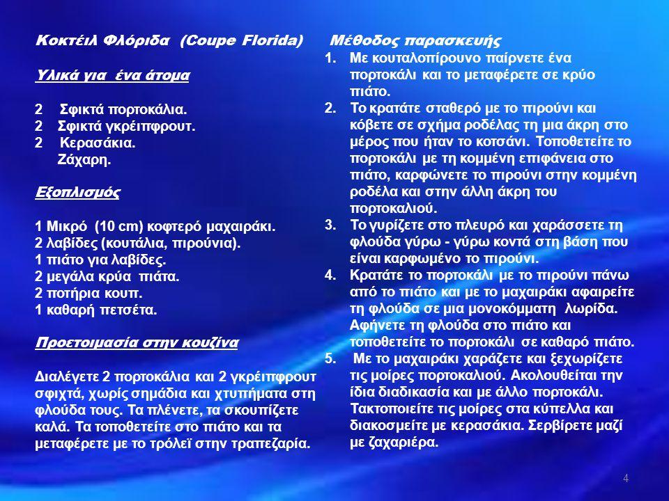 ΑΝΑΤΡΟΦΟΔΟΤΗΣΗ 1.Αναφέρετε την απαραίτητη προετοιμασία για την παρασκευή - Κοκτέιλ Φλόριδα (Coupe Florida).
