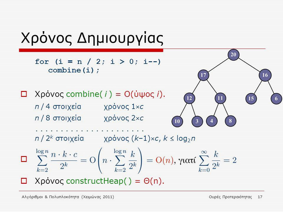 Αλγόριθμοι & Πολυπλοκότητα (Χειμώνας 2011)Ουρές Προτεραιότητας 17 Χρόνος Δημιουργίας for (i = n / 2; i > 0; i--) combine(i);  Χρόνος combine( i ) = Ο