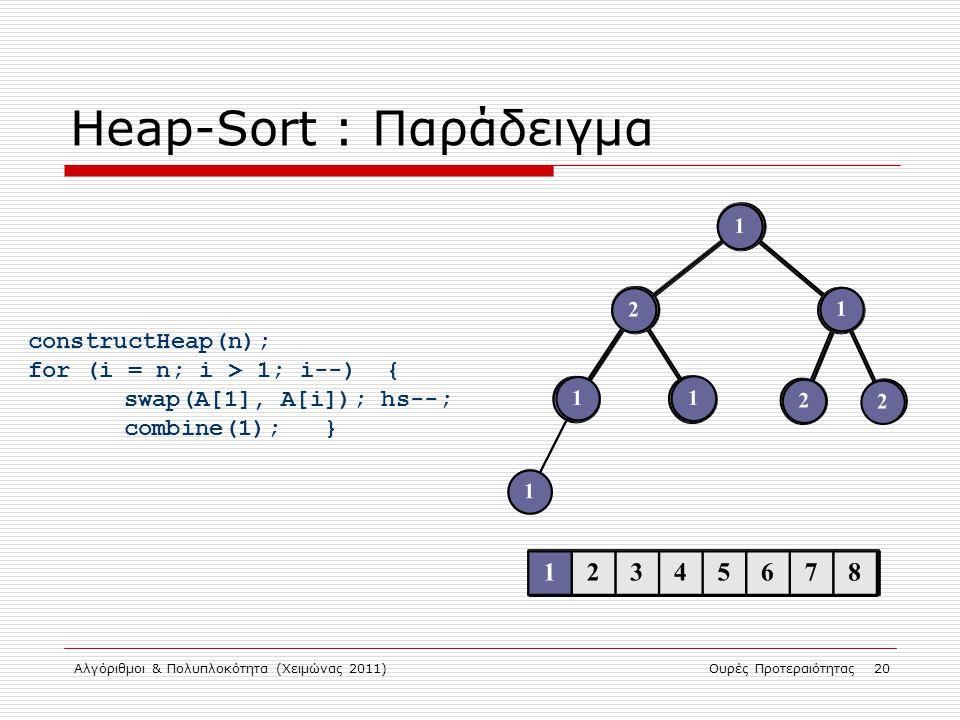 Αλγόριθμοι & Πολυπλοκότητα (Χειμώνας 2011)Ουρές Προτεραιότητας 20 Heap-Sort : Παράδειγμα constructHeap(n); for (i = n; i > 1; i--) { swap(A[1], A[i]);