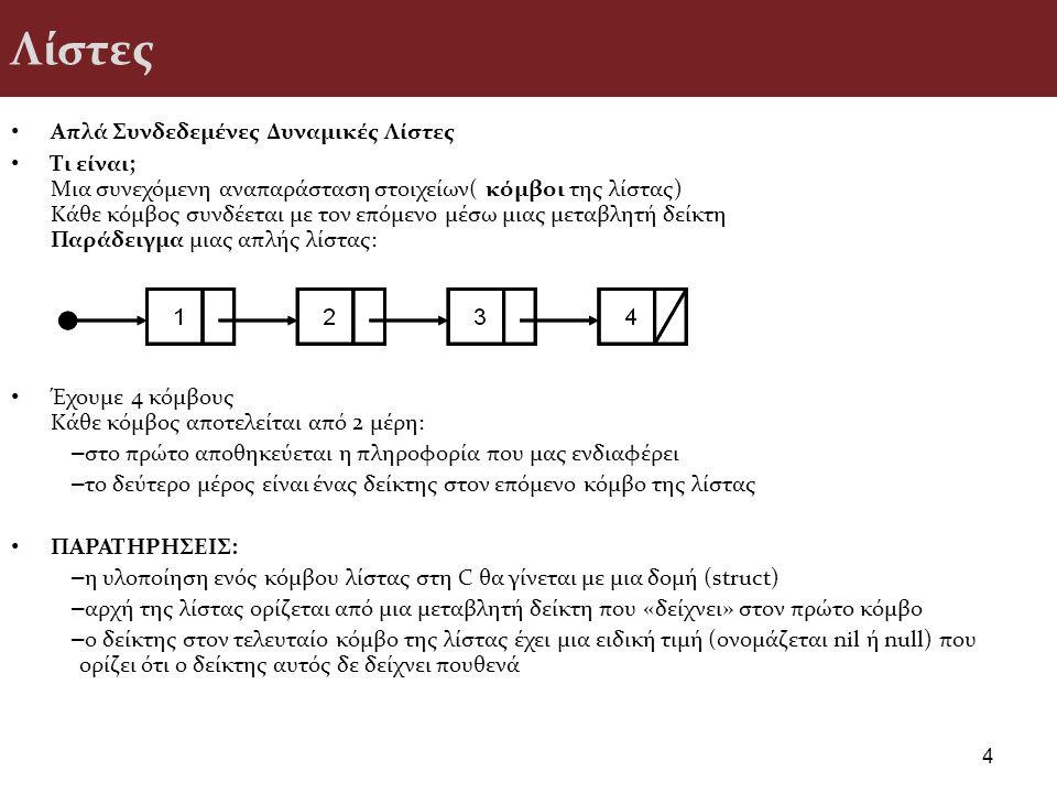 Λίστες Απλά Συνδεδεμένες Δυναμικές Λίστες Τι είναι; Μια συνεχόμενη αναπαράσταση στοιχείων( κόμβοι της λίστας) Κάθε κόμβος συνδέεται με τον επόμενο μέσω μιας μεταβλητή δείκτη Παράδειγμα μιας απλής λίστας: Έχουμε 4 κόμβους Κάθε κόμβος αποτελείται από 2 μέρη: – στο πρώτο αποθηκεύεται η πληροφορία που μας ενδιαφέρει – το δεύτερο μέρος είναι ένας δείκτης στον επόμενο κόμβο της λίστας ΠΑΡΑΤΗΡΗΣΕΙΣ: – η υλοποίηση ενός κόμβου λίστας στη C θα γίνεται με μια δομή (struct) – αρχή της λίστας ορίζεται από μια μεταβλητή δείκτη που «δείχνει» στον πρώτο κόμβο – ο δείκτης στον τελευταίο κόμβο της λίστας έχει μια ειδική τιμή (ονομάζεται nil ή null) που ορίζει ότι ο δείκτης αυτός δε δείχνει πουθενά 4