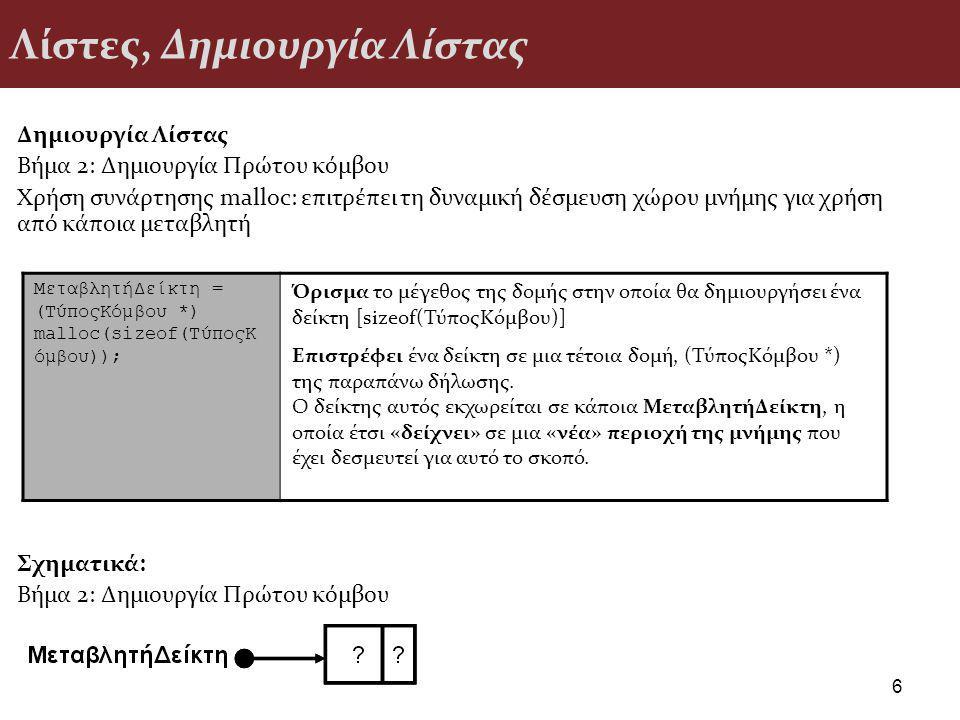 Λίστες, Διαγραφή στοιχείου από λίστα Αλγόριθμος Διαγραφής - Παράδειγμα 27 if (Lista == NULL) /* αν η λίστα είναι άδεια */ printf( Δεν μπορεί να γίνει διαγραφή ); else if (Lista -> Plhroforia == x) /* αν το ζητούμενο στοιχείο είναι το πρώτο */ {temp = Lista; /* ο τρέχων κόμβος είναι ο πρώτος */ Lista = Lista -> next; /* η λίστα ξεκινάει από τον επόμενο κόμβο */ free(temp); /* απελευθερώνεται η μνήμη του τρέχοντος κόμβου */ } else {temp = Lista; /* βοηθητική μεταβλητή διάσχισης της λίστας */ previous = NULL; /* βοηθητική μεταβλητή που δείχνει τον προηγούμενο κόμβο */ while ((temp!=NULL) && (temp -> Plhroforia != x)) /* μέχρι να τελειώσει η λίστα ή να βρεθεί ο κόμβος */ {previous = temp; /* προχώρησε τον προηγούμενο κόμβο μια θέση */ temp = temp -> next; /* προχώρησε τον τρέχοντα κόμβο μια θέση */ } if (temp!=NULL) /* αν το στοιχείο βρέθηκε */ {previous->next = temp->next; /* ο δείκτης του προηγούμενου δείχνει το επόμενο */ free(temp); /* απελευθερώνεται η μνήμη του τρέχοντος κόμβου */ } else /* αν το στοιχείο προς διαγραφή δεν υπάρχει */ printf( Το στοιχείο δεν υπάρχει στη λίστα ); }