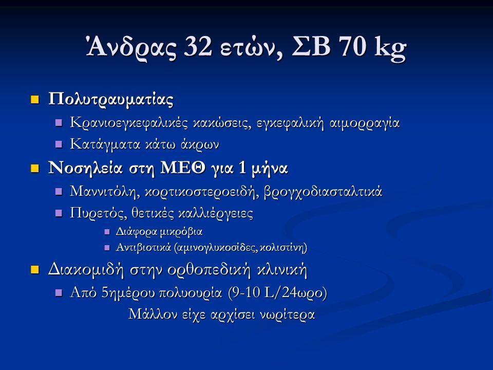 Αντικειμενική εξέταση Απύρετος, άριστο επίπεδο συνείδησης, πάρεση αριστερού άνω και κάτω άκρου Απύρετος, άριστο επίπεδο συνείδησης, πάρεση αριστερού άνω και κάτω άκρου Σίτιση από γαστροστομία, ουροκαθετήρας Σίτιση από γαστροστομία, ουροκαθετήρας Νάρθηκας στη δεξιά κατά γόνυ άρθρωση Νάρθηκας στη δεξιά κατά γόνυ άρθρωση Πρόσφατη χειρουργική αποκατάσταση κατάγματος Πρόσφατη χειρουργική αποκατάσταση κατάγματος ΑΠ: 110/70 mmHg, σφύξεις: 84/min, μειωμένη σπαργή δέρματος, μη διαγραφή σφαγιτίδων, ξηρότητα βλεννογόνων ΑΠ: 110/70 mmHg, σφύξεις: 84/min, μειωμένη σπαργή δέρματος, μη διαγραφή σφαγιτίδων, ξηρότητα βλεννογόνων ΚΦΠ: 4 cm H 2 O ΚΦΠ: 4 cm H 2 O Αρνητικό ισοζύγιο υγρών 18 L τις τελευταίες 8-9 ημέρες Αρνητικό ισοζύγιο υγρών 18 L τις τελευταίες 8-9 ημέρες